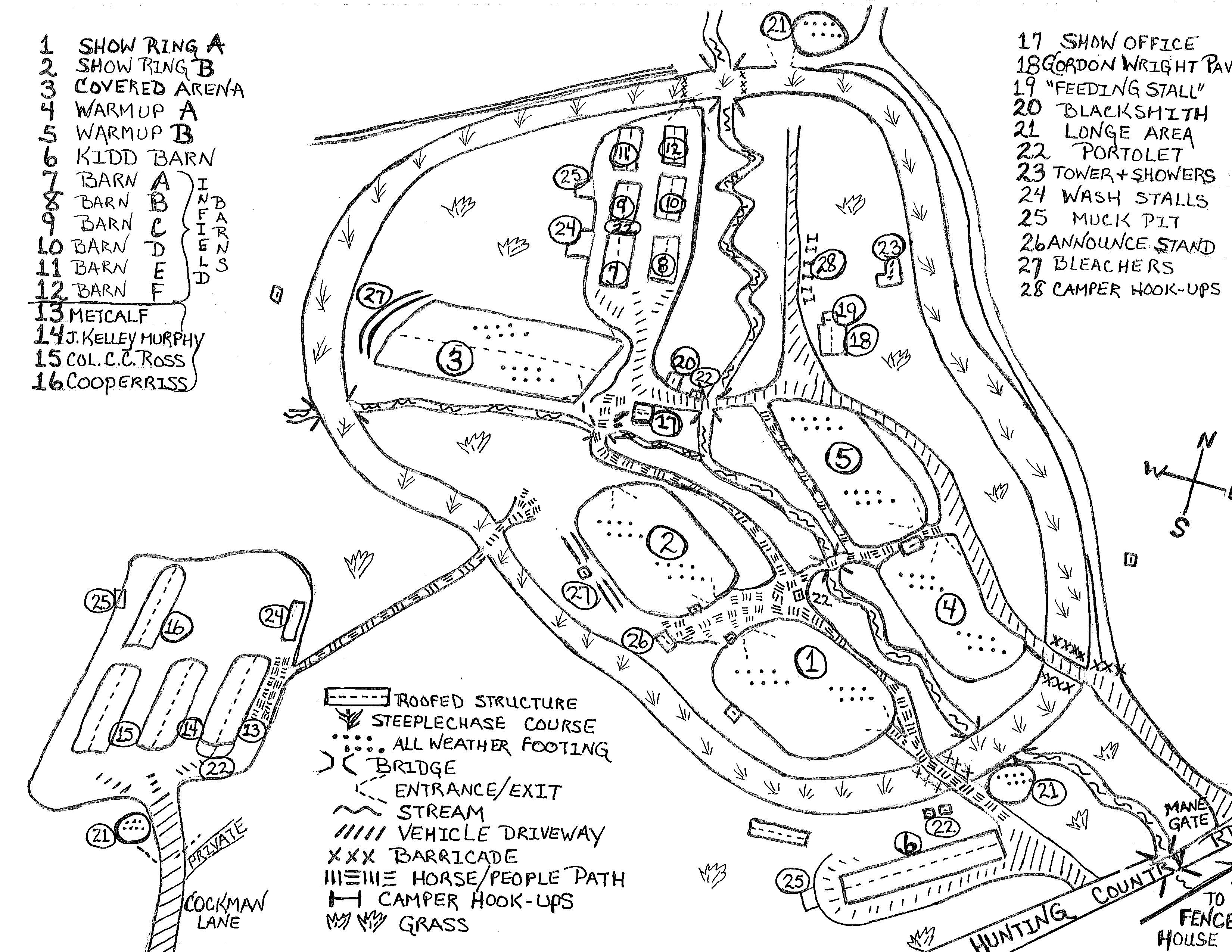 Map Of Facility Foothills Equestrian Nature Center